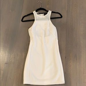 White mesh fitted dress